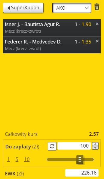 Tenisowy kupon na wygraną Federera i Isnera