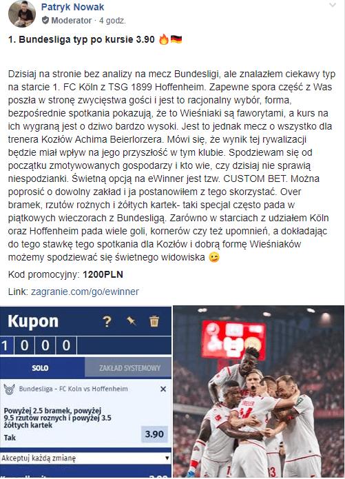 Grupa FB mecz Köln vs Hoffenheim