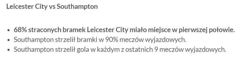 Statystyki bukmacherskie do meczu Leicester z Southampton