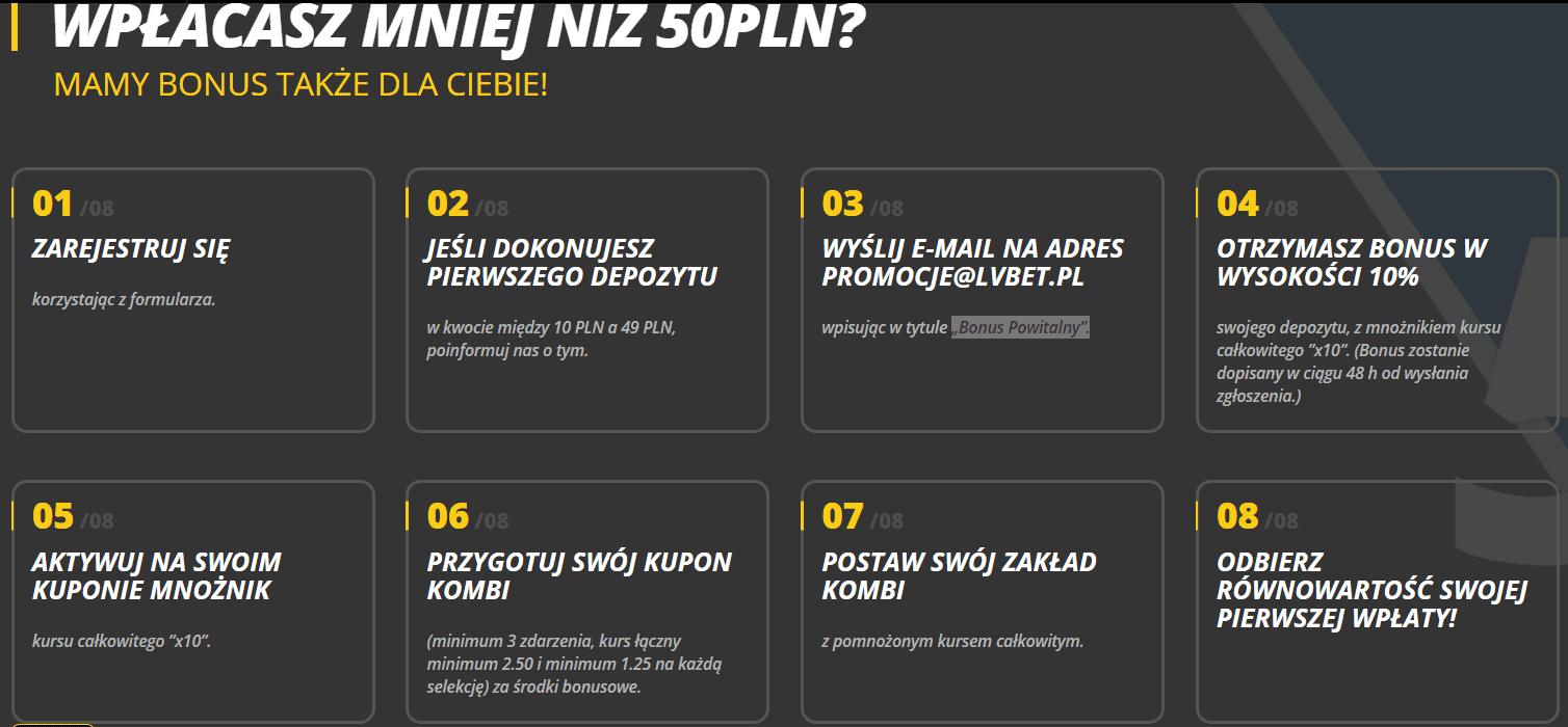 Bonus za wpłatę mniejszą niż 50 PLN w LVBET