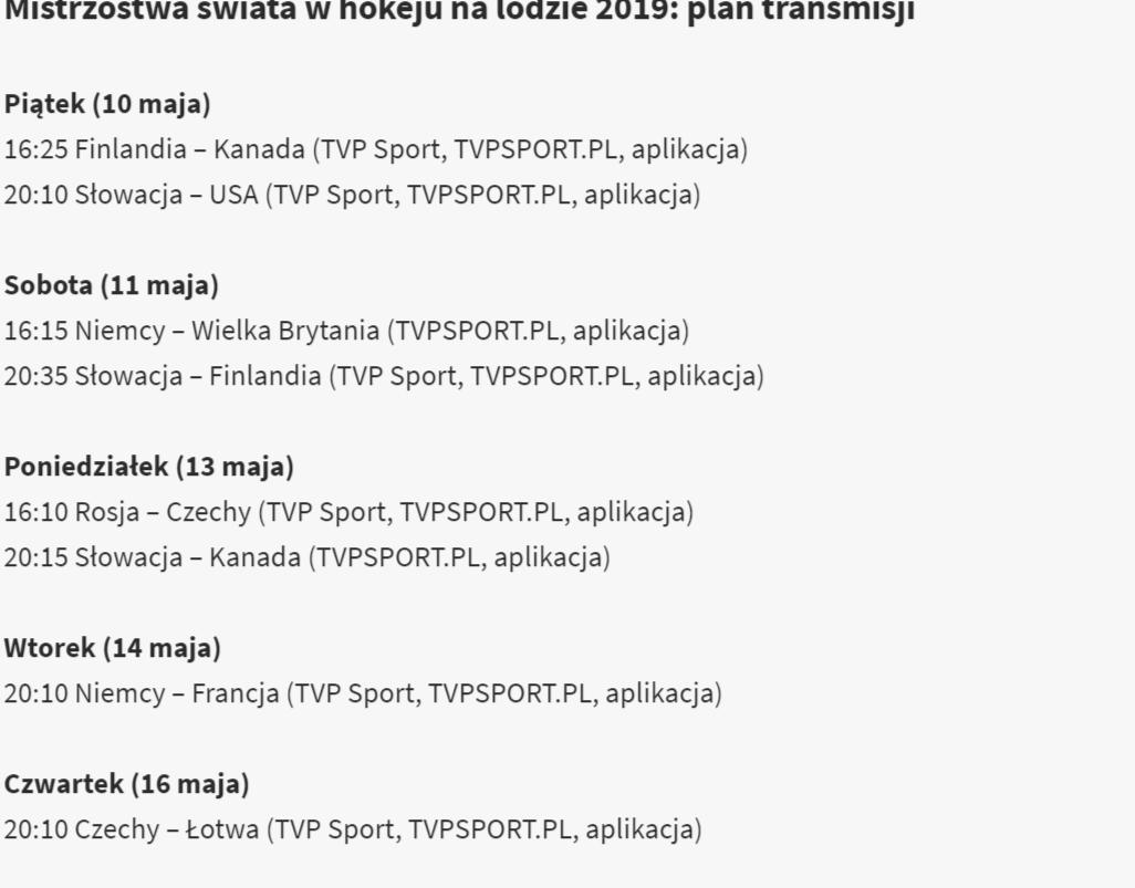 Hokejowe transmisje MŚ w TVP Sport