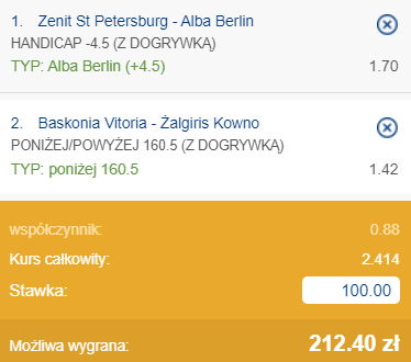 kupon double euroliga czwartek