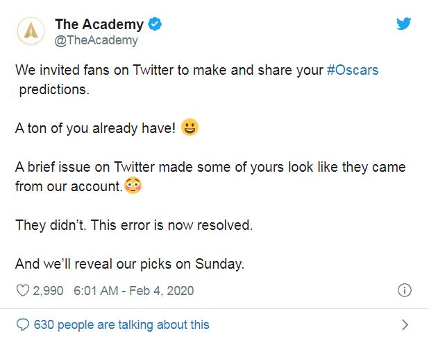 Oscary 2020 - sprostowanie Akademii