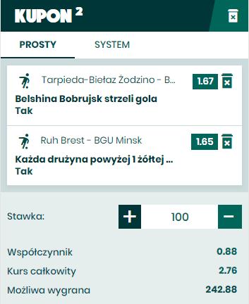 Kupon na Białoruś 27.03. BETFAN bez ryzyka