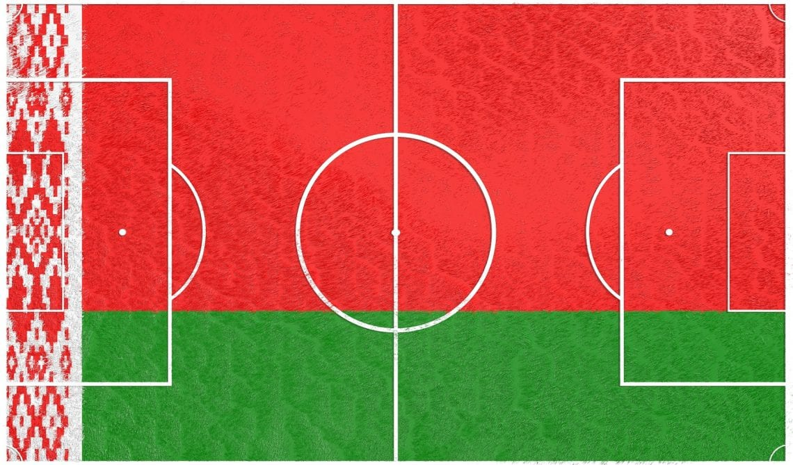 Piłka nożna Białoruś flaga na boisku