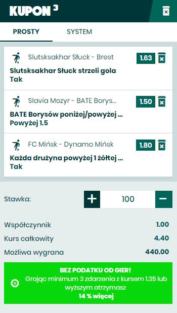 28.03. BETFAN Białoruś kupon na piłkę nożną