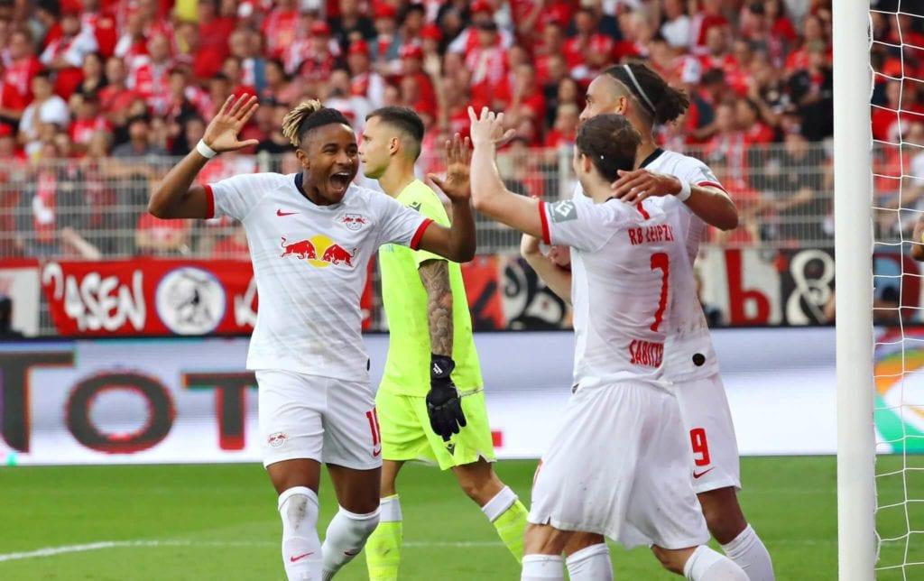 RB Lipsk Nkuku cieszący się z gola