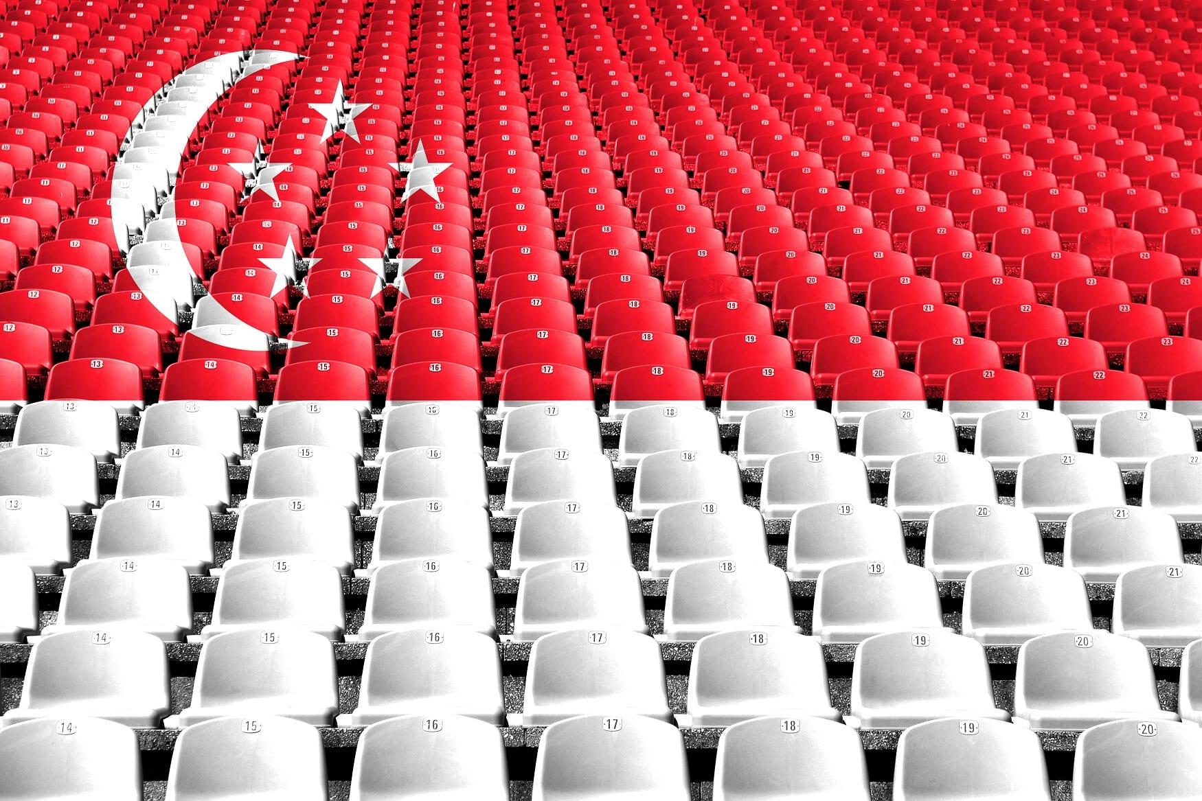 Singapur flaga z krzesełek