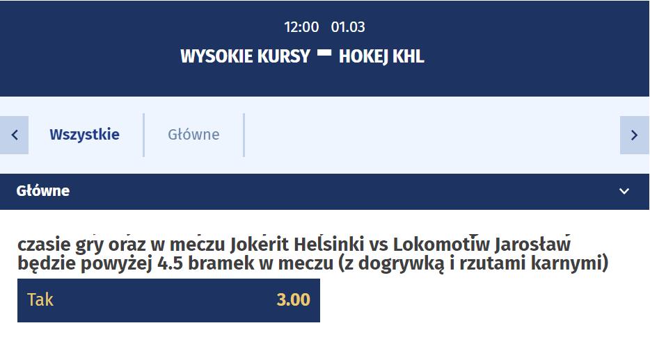 wysokie kursy na KHL 01.03.