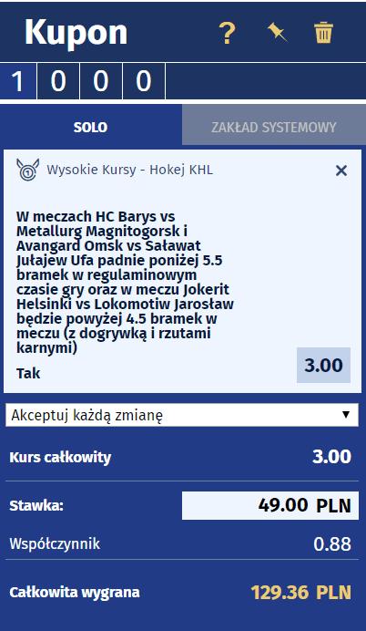 Zakład bez ryzyka eWINNER na KHL 01.03
