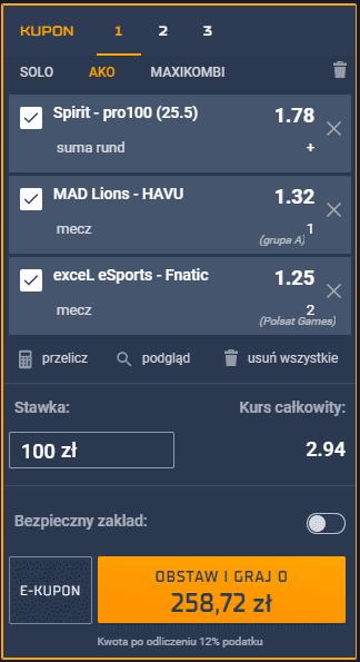 kupon 1 13.03 esport