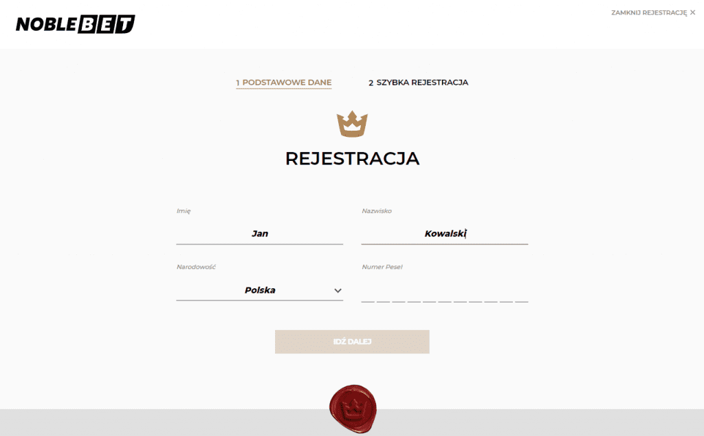 Noblebet rejestracja krok 1