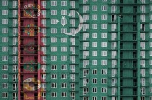 Flaga turkmenistanu na bloku