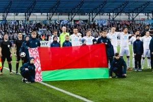 Flaga Białorusi na meczu