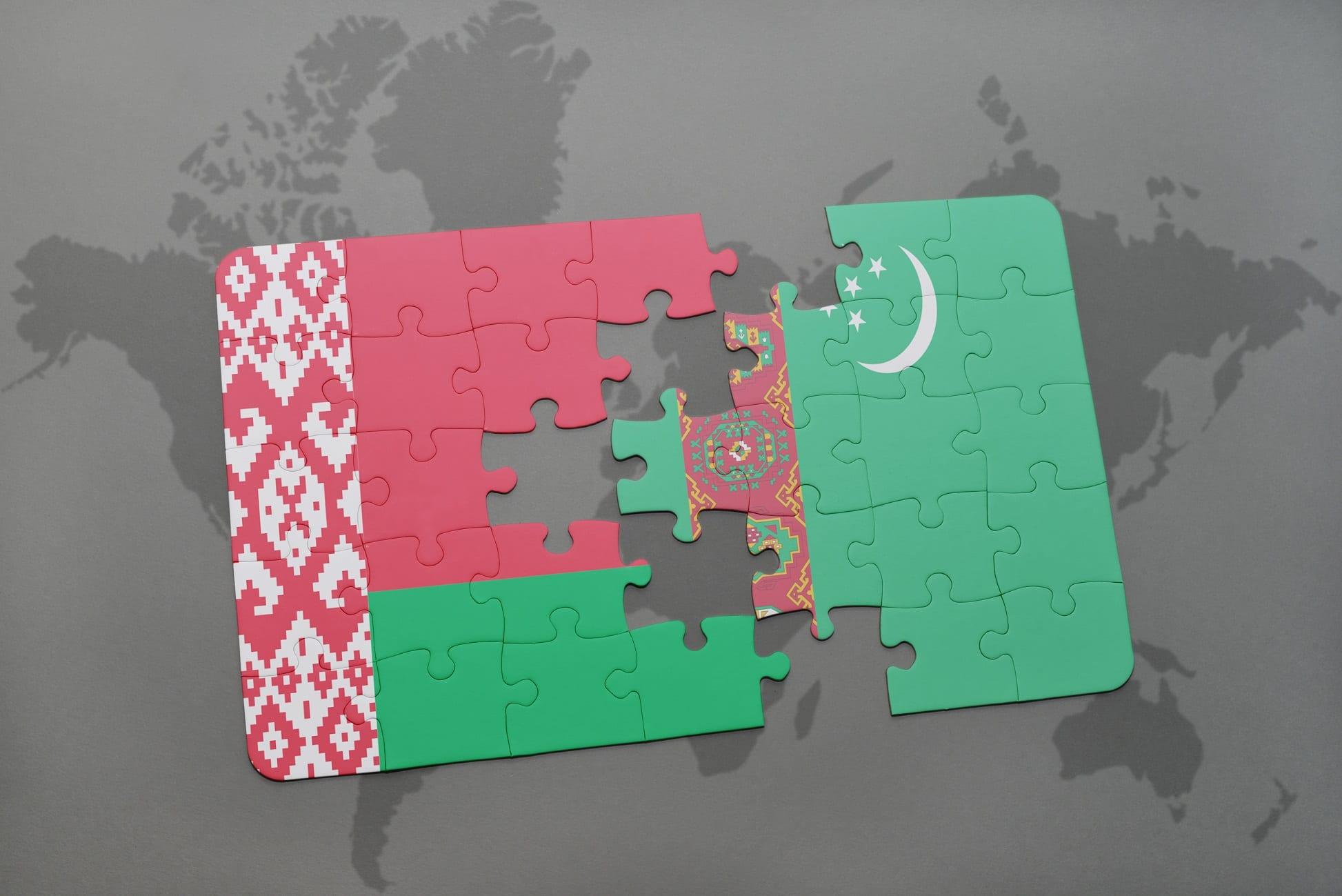Flaga Białorusi i Turkmenistanu z puzzli