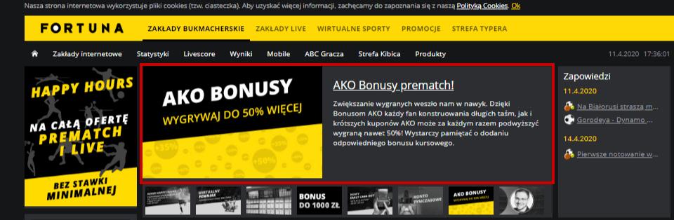 AKO bonus na stronie głównej Fortuny