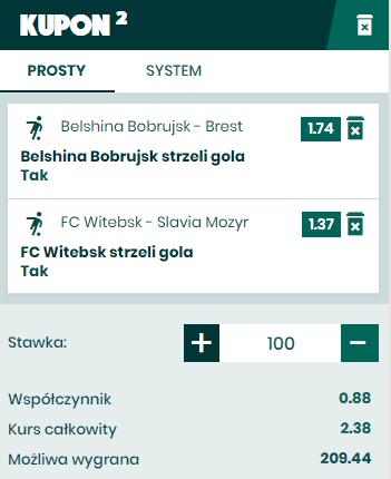 Białoruś BETFAN kupon na 03.05