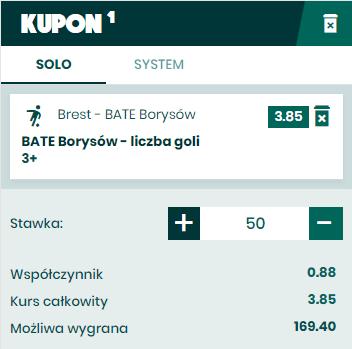 BETFAN zakład na Białoruś 20.05 drugi kupon
