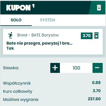 Kupon z zakładem spcjalnym na Białoruś BETFAN 20.05.
