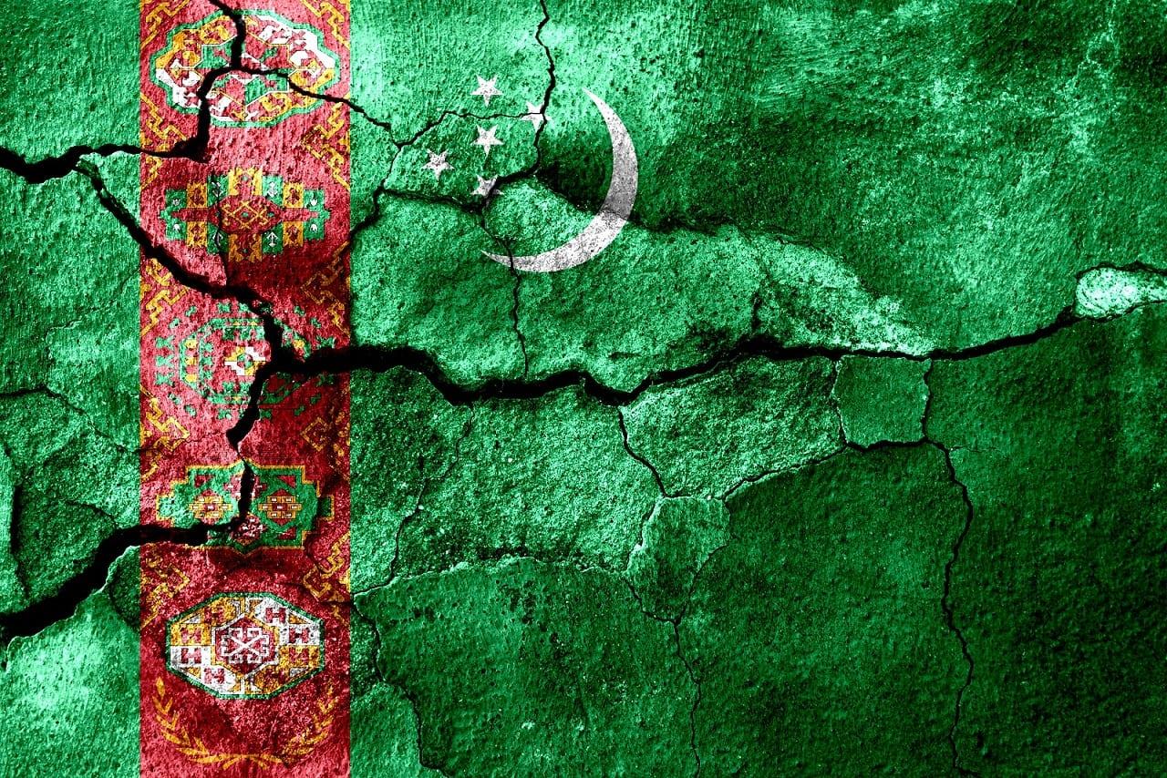Flaga Turkmenistanu na murze