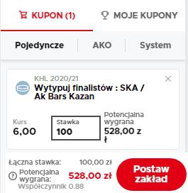 Betclic zakład długoterminowy KHL 01.09.