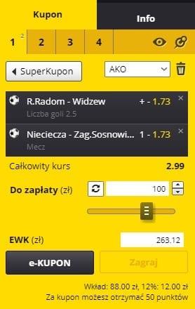 Radomiak vs. Widzew - kupon