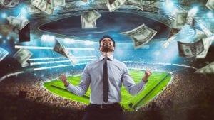 Mężczyzna, stadion, pieniądze