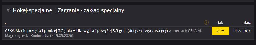 Specjalny zakład KHL na 19.09.