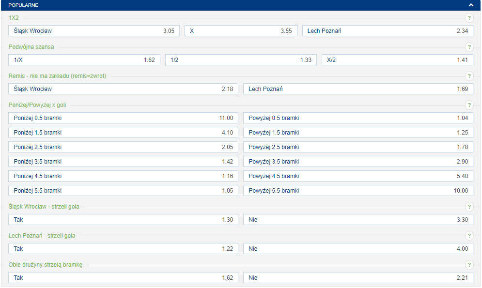 forBET zakłady Lech vs. Śląsk