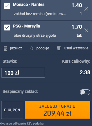 kupon double niedziela ligue 1 przemek