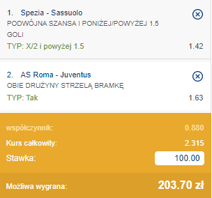 kupon double serie a 27.09.2020
