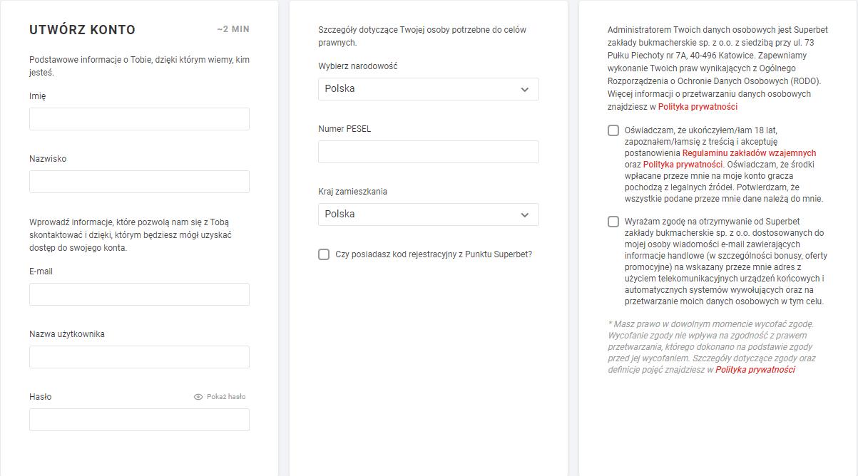 superbet rejestracja wygląd strony