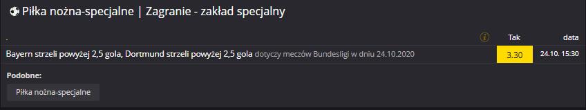 Fortuna Bundesliga zakład specjalny na 24.10.