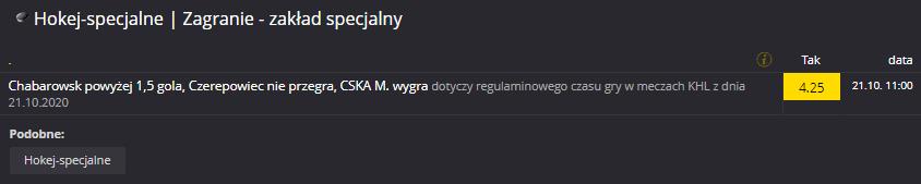 KHL Fortuna 21.10. zakład specjalny