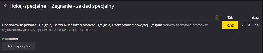 Zakład specjalny w Fortunie na 23.10. KHL