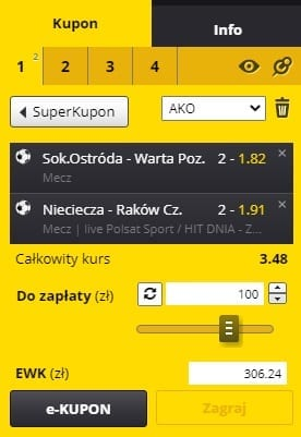 Kupon na Puchar Polski 30.10