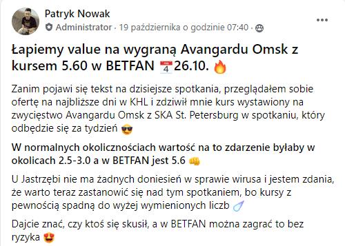 Mecz Avangard Omsk 26.10.