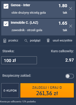 kupon double serie a, 24.10.2020