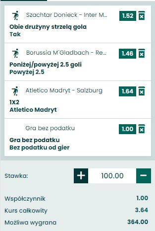 kupon triple liga mistrzów 27.10.2020