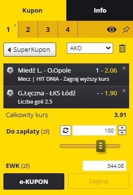 Kupon na piątkowe mecze Fortuna 1.Ligi