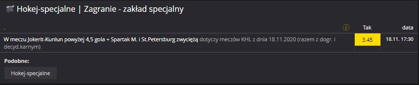 KHL Fortuna zakład specjalny na 18.11.