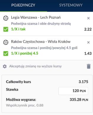 Legia Lech typy i kursy