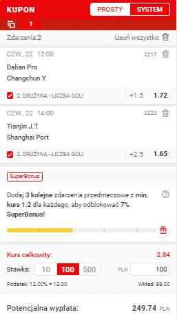 Chiny na 22.04. Superbet