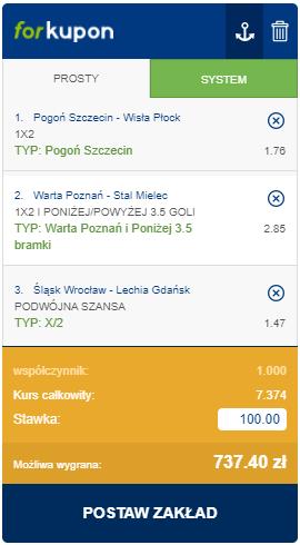 ekstraklasa kupon triple 10.04 forbet