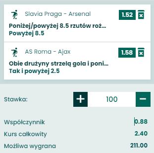 kupon double na ligę europy, 15.04.2021