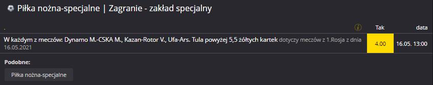 Rosja Fortuna 16.05. zakład specjalny