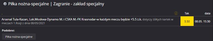 Rosja Fortuna 08.05. zakład specjalny