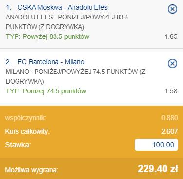 kupon double na półfinały Euroligi, 28.05.2021