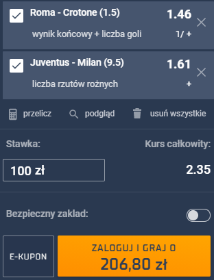 kupon double serie a, 09.05.2021