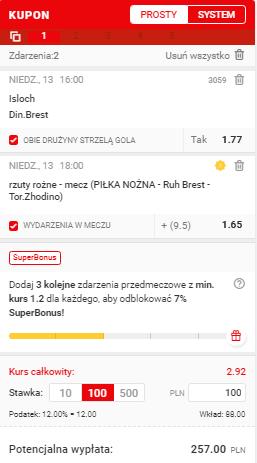 Superbet Białoruś na 13.06.